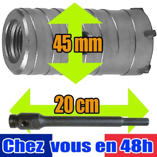 Kit de Forage Béton,trepan scie cloche 45 mm,tige 20 cm,brique,Silverline