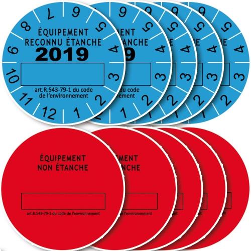 Lot 10 Etiquettes 2019 de Marque de Contrôle d'Etanchéité pour équipements avec fluide frigorigène