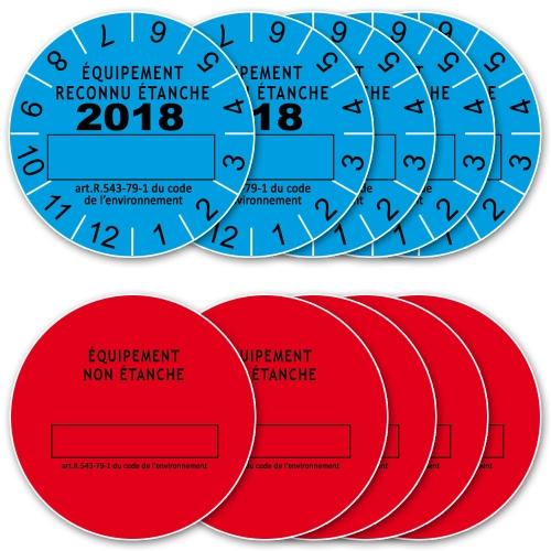 Lot 10 Etiquettes 2018 de Marque de Contrôle d'Etanchéité pour équipements avec fluide frigorigène