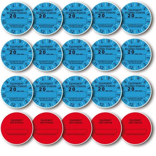 Lot 20 Etiquettes de Marque de Contrôle d'Etanchéité pour équipements avec fluide frigorigène