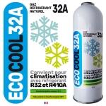 EcoCool Gaz 32A compatible R410A R32 cartouche recharge 750 ml