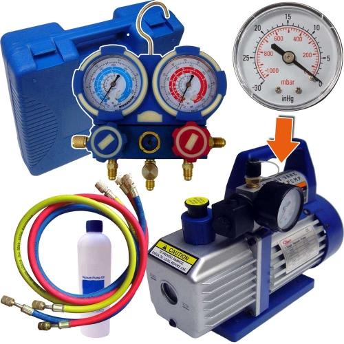 Kit de tirage au vide et recharge de climatisation avec pompe a vide, vacuomètre et manifold