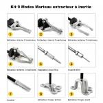 Coffret 9-modes arrache extracteur de roulement marteau a inertie 17 pieces