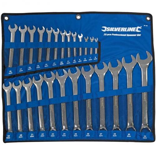 Trousse 25 clés plates mixtes métriques 6 à 28 mm, 30 et 32 mm Silverline SP100